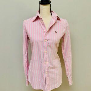 Ralph Lauren pink striped button up shirt